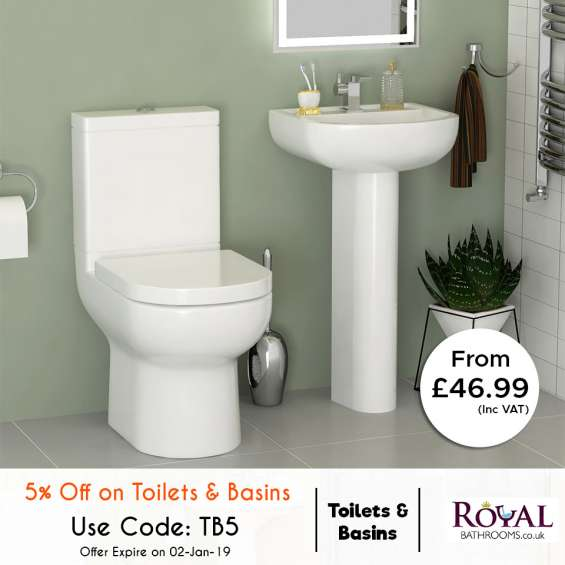 Amazing extra 5% off on christmas also 70% off on autumn sale for toilts and basins