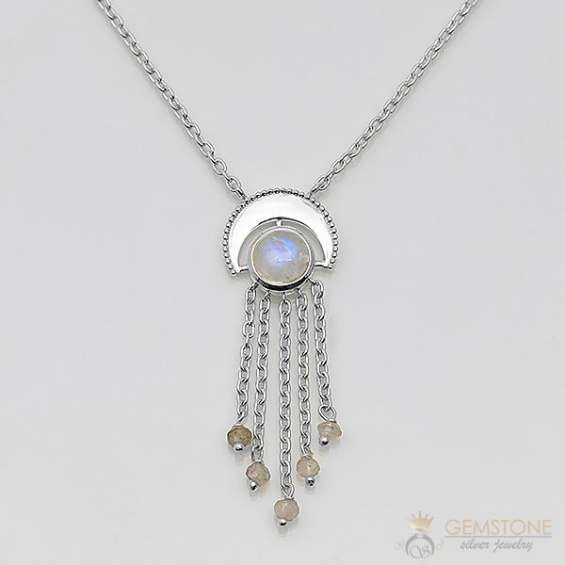 Moonstone necklace - celestial waterfall - gsj