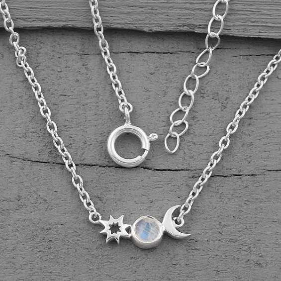 Moonstone necklace - moon's companion - gsj