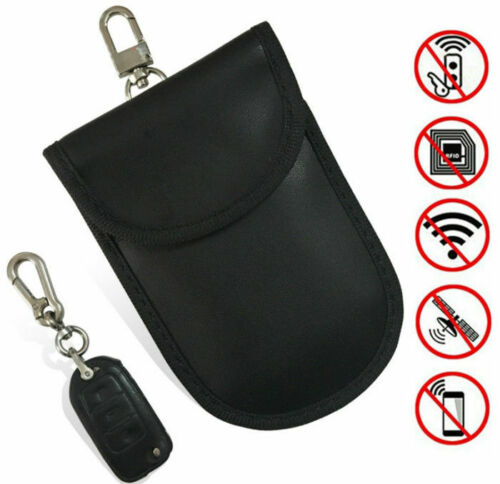 2x pu leather rfid key pouch signal blocker for car keys - black