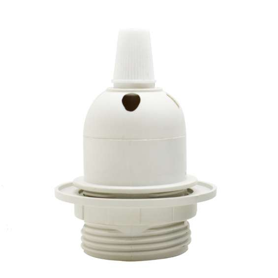 Edison e27 white lamp pendant bulb holder with shade ring & cord grip
