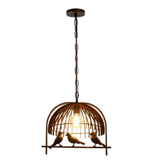 Vintage industrial chandelier rustic copper bird cage ceiling loft pendant light lampshade