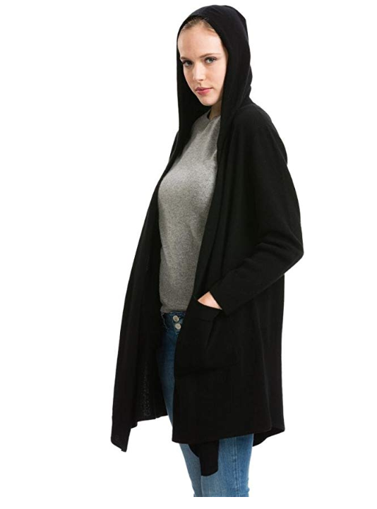 Citizen cashmere long hooded cardigan for women