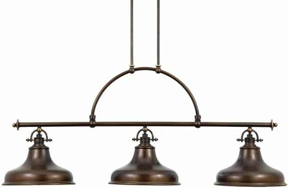 """emery 3 light island chandelier - weathered brass """