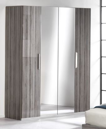 Get grey gloss wardrobe with mirror in uk - chic paradis