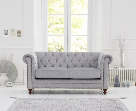 Buy fabulous madelyn plush fabric 2-seater sofa in grey