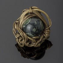 Brass and jasper cocktail ring