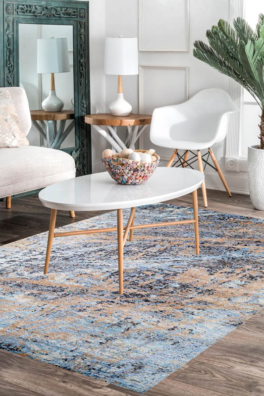 Buy eye catchy blue contemporary carpet at cheap price