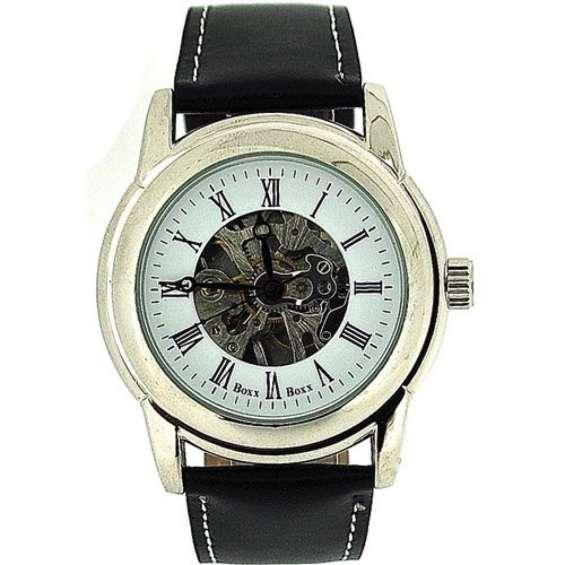 Boxx boxx gents roman numerals mechanical skeleton black leather strap watch
