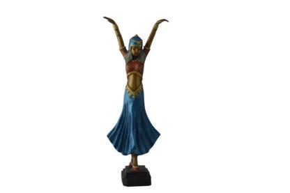 Gypsy dancer raising hands bronze statue
