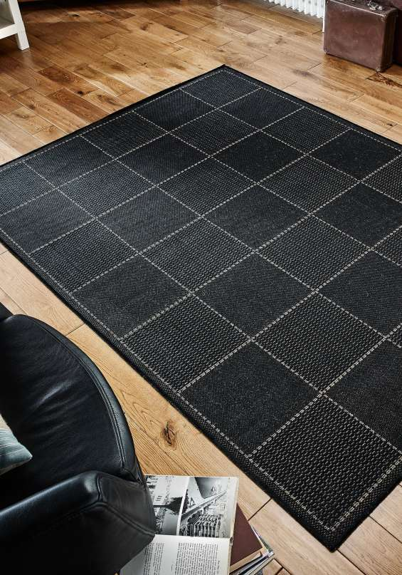 Checked flatweave rug by oriental weavers colour black