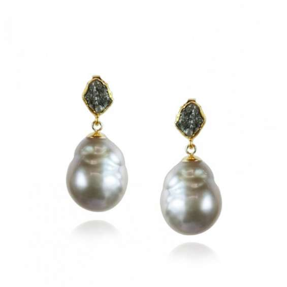 Gold black diamond and silver grey pearl drop earrings