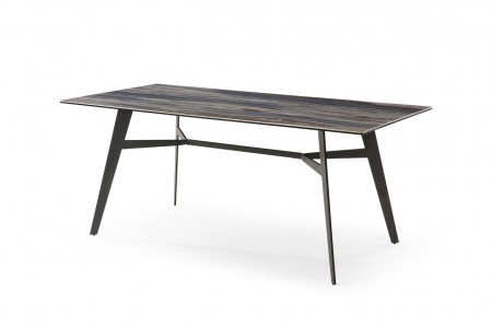 Caldon ceramic on glass dining table in blue mist with black metal legs
