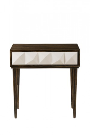 Olivia cream high gloss and ebony bedside table