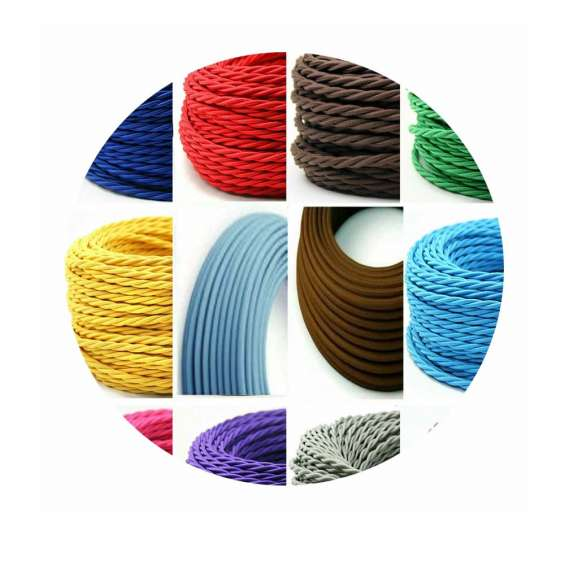 2 core braided fabric twisted and round cable lighting flex