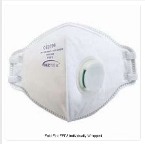 Fold flat ffp3 individually wrapped