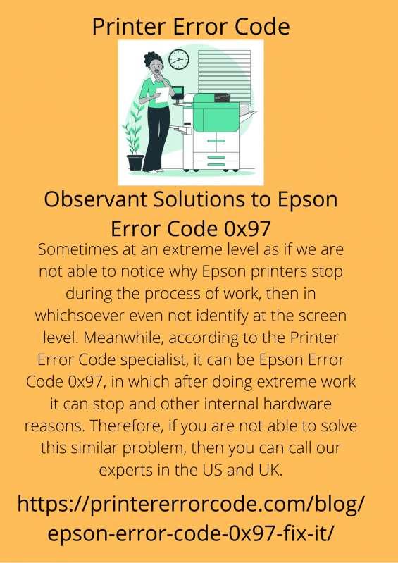 Observant solutions to epson error code 0x97