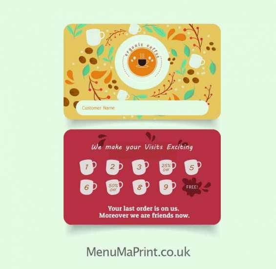 Loyalty card printing   restaurant loyalty cards uk   menuma