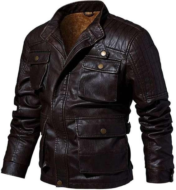 Moto biker leather jacket multi-pocket.
